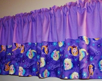 FROZEN LAVENDER COLORBLOCK Valance. Elsa, Anna, Window Curtain, Girls Valance, baby's, bedroom curtain, Bathroom curtain, Great gift idea