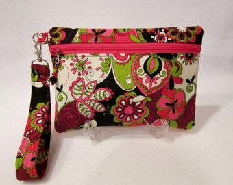 Wristlet Clutch Zippered Pouch With Removable Strap