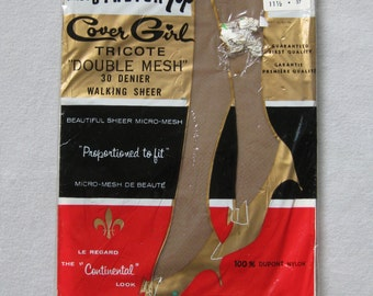 Vintage Nylon Stockings Bas Size 11.5 11 1/2 New-Old-Stock NWT New-with-Tag Dead Stock Cover Girl Taupe Stretch Top Shoe Size 10 1/2 11 12