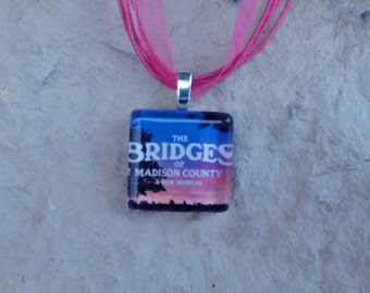 Broadway Musical The Bridges of Madison County Glass Pendant and Ribbon Necklace