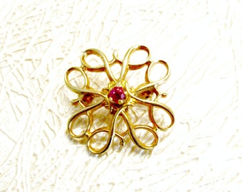 Gold Filled Ruby Pin, Avon Sales Award, Robbins Company, Scroll Clover Shape