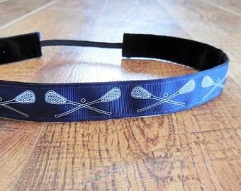 Navy Lacrosse no slip headband. Navy blue lacrosse headband, lacrosse headband, hair accessory, lacrosse gift, sports headband, team colors