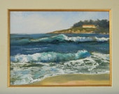Waves in Carmel - plein air seascape 12x9 original oil painting framed