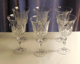 Vintage Retro Drinking   Heavy Crystal  Wine Or Water Goblet Set Of Six - Free US Shipping