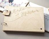 Personalised Calligraphy Guest Book - Wedding Guest Book - Rustic Wooden Guest Book - Personalised Couples - Wedding Calligraphy