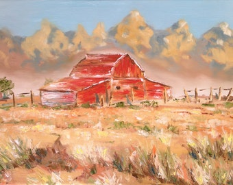 """Old Red Barn - wrapped giclee print 18""""x24"""" barn, red barn, lanscape, impressionism"""