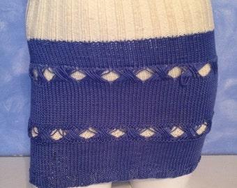 Vintage 1970s Handmade Crochet Knit Sweater Skirt  Size Small