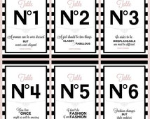 Table Numbers #1-6 with Chanel quotes DIGITAL PRINTABLE Bridal/Baby shower/Birthday party/Sweetsixteen 16/Wedding/Paris/France/Black/Pink