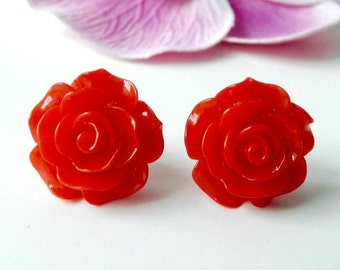 Rose earrings Red Flower Posts Pinup Rockabilly jewelry  Handmade accessories