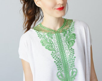 30% Inspiration Green Necklace Venise Lace Necklace Lace Jewelry Bib Necklace Statement Necklace Body Jewelry Gift/ JELSI