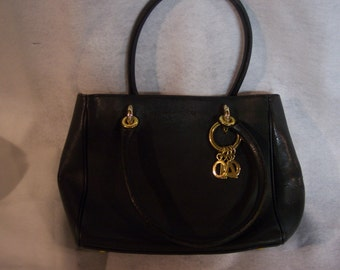 PHYNES Black Leather Hand Bag