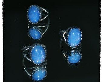Silver & Blue Opal Rings