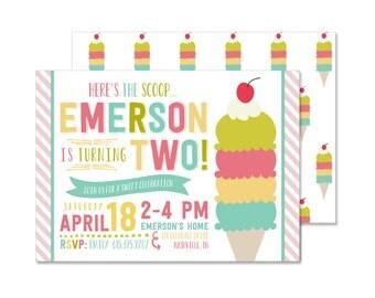 Vintage Ice Cream Birthday Invitation