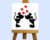 Mr. & Mrs. Mouse Love Mini Canvas with Easel - Custom