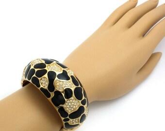 Vintage Christian Dior Gold-Plated Black Enamel Statement Bracelet