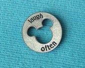 "Disney Pewter ""Laugh Often"" Token Coin - ""Pieces of Magic"" with Mickey Head Cutout"