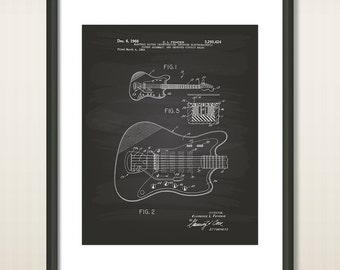 Fender Electric Guitar 1966 Patent Art Illustration - Drawing - Printable INSTANT DOWNLOAD - Get 5 colors background