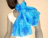 Light Blue Scarf, Hand Painted Silk, Turquoise Aqua, Hand Dyed Scarf, Blue Silk Scarf, Classic Blue, Artist Handmade, Hand Dyed, Jossiani