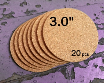 "3.0 Inch ROUND Blank Cork Coasters, 1/8"" Thick, 20-pack"