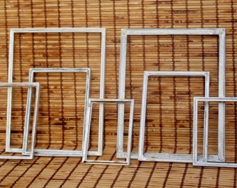 White Painted Frames, Open Photo Frames, French Provincial Gallery Wall, Picture Frames, Shabby Chic, Rustic Decor, Primitive Decor
