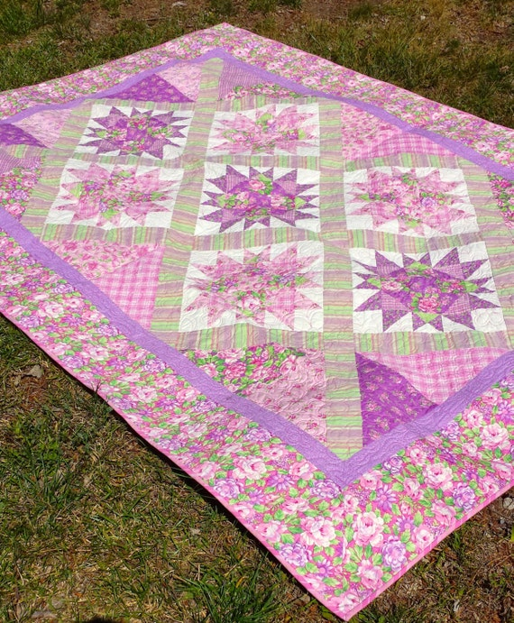 Easy Quilt Patterns For Twin Beds : Pink Twin Bed Quilt Floral Quilt Pink and Purple Girls Bed