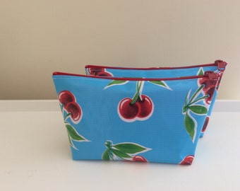 Cosmetic Pouch Oilcloth Aqua Blue with Cherry Print