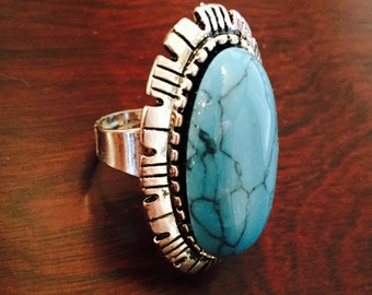 Silver and turquoise bohemian ring #1