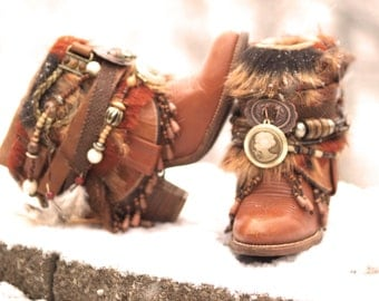 Custom upcycled REWORKED beaded vintage boho boots festival BOOTS gypsy boots ankle boots belted boots leather ankle boots