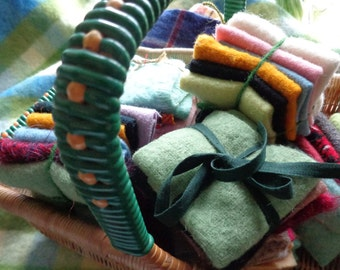 100% wool recycled felted blanket squares