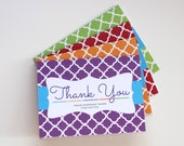 Printed Thank You Cards, Multi-color Quatrefoil, Purple, Orange, Red and Green - 12 Pack