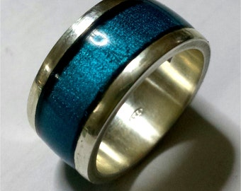Silver 925 ring with transparent enamel with personalized text