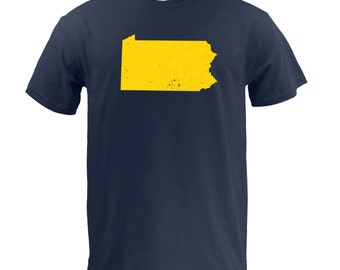Distressed Pennsylvania State Shape - Navy