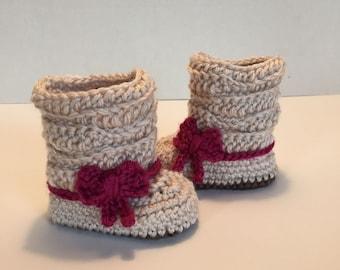 Crochet Baby Booties, Boots, 0-3 Months