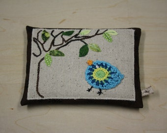 Pin Cushion with crocheted bird, filled with crushed glass to keep your needles sharp