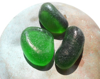 Green hues sea glass, chunky greek genuine sea glass, jewelry supplies