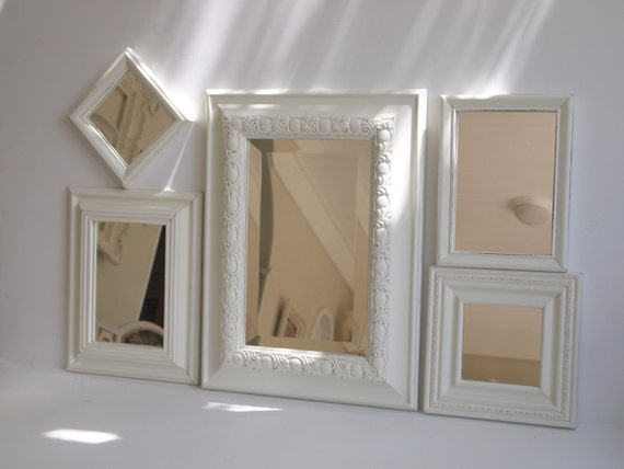 Mirrors vintage set of six wall collage ornate by for Mirror collage wall