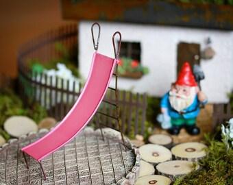 Fairy Garden Slide miniature for terrarium or mini garden furniture playground fuschia color