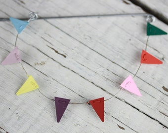 Fairy Garden Accessories miniature bunting pennant party flags - Birthday Party flags - cake topper