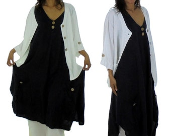 HE600BL42 ladies dress tunic of linen layered look vintage dark blue Gr. 42 used look summer dress without sleeve A-line asymmetrical