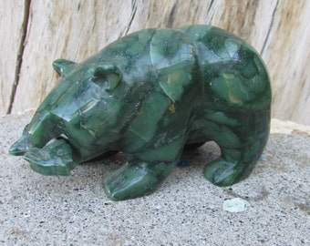 Alaskan Jade Carved Stone Bear with Salmon Sculpture
