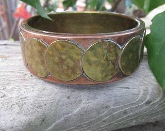 Copper and Brass Bangle Bracelet Hippie Boho