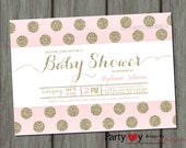 Baby Shower Invitation, Blush Pink Baby Shower Invitation, Glitter Baby Shower Invitation, Glam Baby Shower, Glitter and Pink Baby Shower