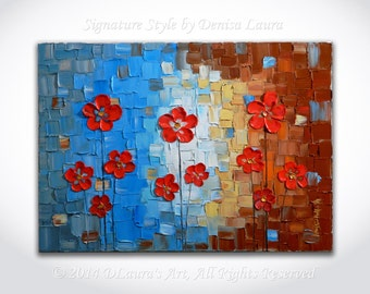 ORIGINAL Contemporary Landscape Art Abstract Cherry Red Flowers Textured Modern Oil Palette Knife Painting by Denisa Laura 28x20 Made2Order