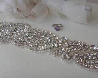 Bridal Belt, Bridal Sash, Swarovski, Bridal Sash Belt, Bridal Belts and Sashes, Swarovski Crystal Bridal Belt, 1920's bridal, Vintage, Blush