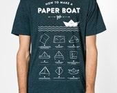 Paper boat - premium poly-cotton T-Shirt American Apparel - black Aqua