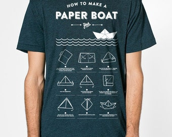 Paper boat - premium poly-cotton T-Shirt American Apparel - black Aqua