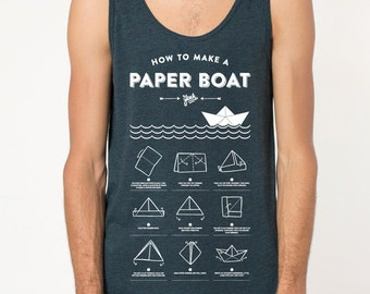 Paper boat - premium poly-cotton tank top American Apparel - black Aqua
