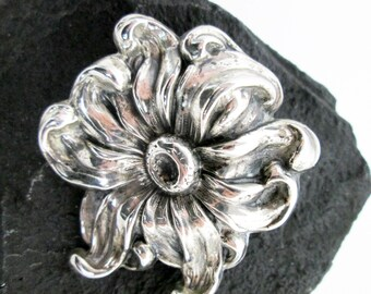 1920s Sterling Art Nouveau Style Flower Pin/ Brooch, Hallmarked, Hand Articulated Posy, USA.