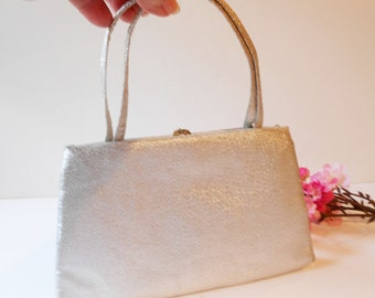 Silver Evening Bag,  Sparkly Silver Bag, Silver Handbag, Vintage Evening Bag, After Five, Made in USA, EB-0161