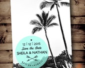 PRINTABLE Save The Date Wedding ANNOUNCEMENT Hawaii photo photography tropical palm trees Invitation Invite PDF Retro luau beach destination